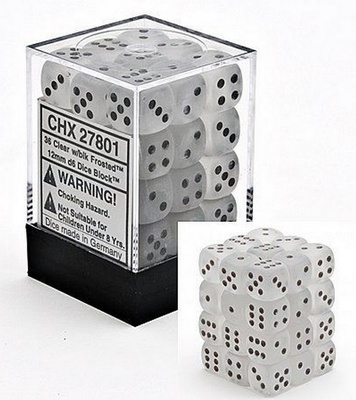 36 d6 Dice Set Chessex FROSTED CLEAR Black 27801TRASPARENTE Nero Dadi Dado