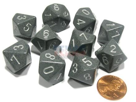 10 d10 Dice Set Chessex SPECKLED HI TECH Silver 25140 MACULATO HI TECH Argento Dadi Dado