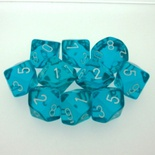 10 d10 Dice Set Chessex TRANSLUCENT TEAL white 23215 Dadi TRASPARENTI CIANO bianco
