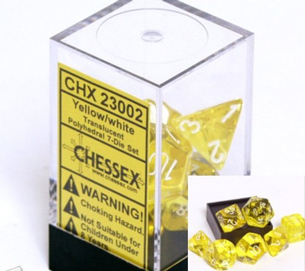 7 Die Set Chessex TRANSLUCENT YELLOW white Dice GIALLO bianco Dadi Dado 23002