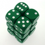 12 d6 Die Set Chessex OPAQUE GREEN white Dice OPACO VERDE bianco Dadi Dado 25605