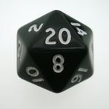 d20 Dice Chessex 16mm Opaque Black white PQ2008 Dado Opaco Nero bianco