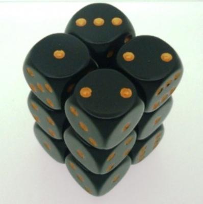12 d6 Die Set Chessex OPAQUE BLACK gold Dice OPACO NERO oro Dadi Dado 25628