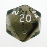 d20 Dice Chessex 16mm Translucent Smoke white PT2008 Dado Trasparente Fumo bianco