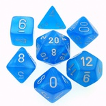 7 Die Set Chessex VELVET BRIGHT BLUE silver Dice BLU BRILLANTE argento Dadi Dado 27479