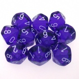 10 d10 Dice Set Chessex TRANSLUCENT PURPLE white 23207 Dadi TRASPARENTI VIOLA bianco