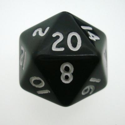 d20 Dice Chessex 16mm Opaque Black white PQ2008 Dado Opaco Nero bianco