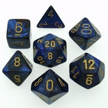 7 Die Set Chessex SCARAB ROYAL BLUE gold Dice REGALE BLU oro Dadi Dado 27427