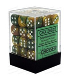 36 d6 Dice Set Chessex GOLD GREEN White 26825 ORO VERDE Bianco Dadi Dado