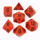 7 Die Set Chessex SPECKLED FIRE black Dice MACULATO FUOCO nero Dadi Dado 25303