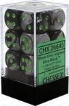 12 d6 Dice Set Chessex GEMINI BLACK GREY Green 26645 NERO GRIGIO Verde Dadi Dado
