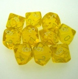 10 d10 Dice Set Chessex TRANSLUCENT YELLOW white 23202 Dadi TRASPARENTI GIALLO bianco