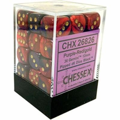 36 d6 Dice Set Chessex PURPLE RED Oro 26826 VIOLA ROSSO Oro Dadi Dado