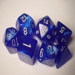 7 Die Set Chessex VELVET BLUE silver Dice BLU argento Dadi Dado 27476