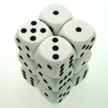 12 d6 Die Set Chessex OPAQUE WHITE black Dice OPACO BIANCO nero Dadi Dado 25601