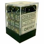 36 d6 Dice Set Chessex LEAF BLACK silver 27818 Dadi Foglia Nero oro