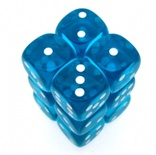 12 d6 Dice Set Chessex TRANSLUCENT TEAL white 23615 TRASPARENTI CIANO bianco Dadi Dado