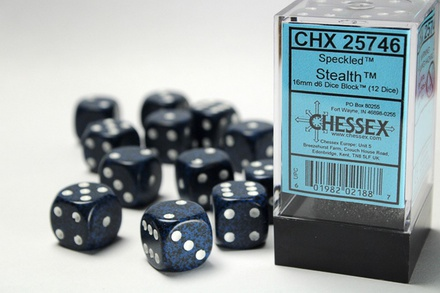 12 d6 Dice Set Chessex SPECKLED STEALTH 25746 Blue Black Dadi Dado Die