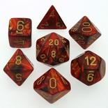 7 Die Set Chessex SCARAB SCARLET gold Dice ROSSO SCARLATTO oro Dadi Dado 27414