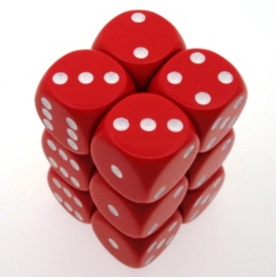 12 d6 Die Set Chessex OPAQUE RED white Dice OPACO ROSSO bianco Dadi Dado 25604