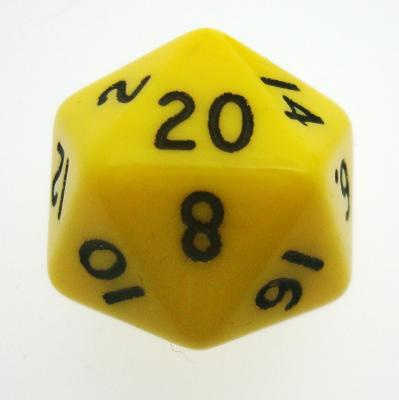 d20 Dice Chessex 16mm Opaque Yellow black PQ2002 Dado Opaco Giallo bianco
