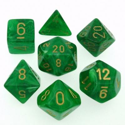 7 Die Set Chessex VORTEX GREEN gold Dice VERDE oro Dadi Dado 27435