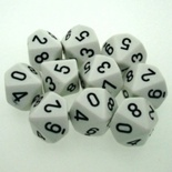 10 d10 DiCe Set Chessex OPAQUE WHITE black 26201 Dadi OPACO BIANCO nero