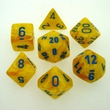 7 Die Set Chessex VORTEX YELLOW blue Dice GIALLO blu Dadi Dado 27432