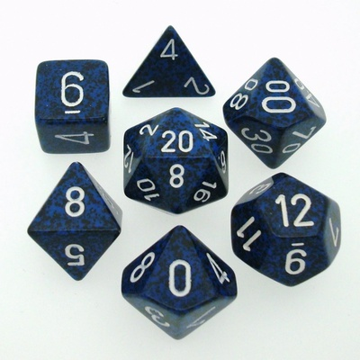 7 Die Set Chessex SPECKLED STEALTH white 25346 MACULATO STEALTH bianco Dadi Dado Dice
