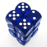12 d6 Dice Set Chessex TRANSLUCENT BLUE white 23606 TRASPARENTI BLU bianco Dadi Dado