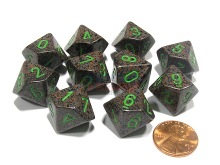 10 d10 Dice Set Chessex SPECKLED EARTH Green 25110 MACULATO TERRA Verde Dadi Dado
