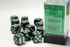 12 d6 Dice Set Chessex SPECKLED RECON 25725 Green Black Dadi Dado Die