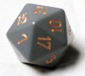 d20 Dice Chessex 16mm Opaque Dark Grey copper PQ2020 Dado Opaco Grigio Scuro rame
