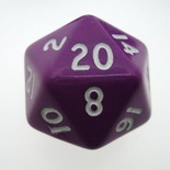 d20 Dice Chessex 16mm Opaque Purple white PQ2007 Dado Opaco Viola bianco