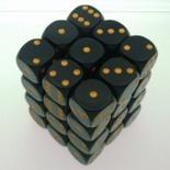 36 d6 Die Set Chessex OPAQUE BLACK gold Dice OPACO NERO oro Dadi Dado 25828