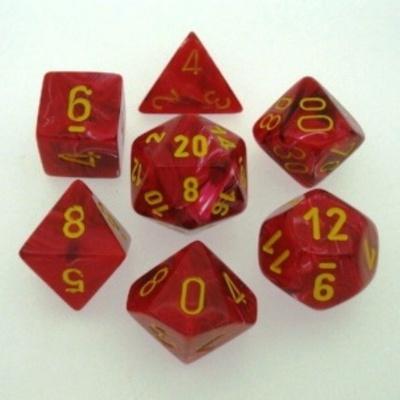 7 Die Set Chessex VORTEX RED yellow Dice ROSSO giallo Dadi Dado 27444