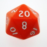 d20 Dice Chessex 16mm Opaque Orange white PQ2003 Dado Opaco Arancione bianco
