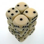 12 d6 Die Set Chessex OPAQUE IVORY black Dice OPACO AVORIO nero Dadi Dado 25600