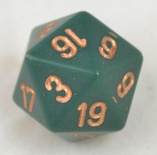 d20 Dice Chessex 16mm Opaque Dusty Green copper PQ2015 Dado Opaco Verde Sporco rame