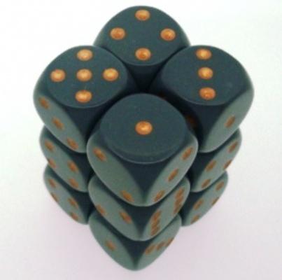12 d6 Die Set Chessex OPAQUE DARK GREY copper Dice OPACO GRIGIO SCURO rame Dadi Dado 25620