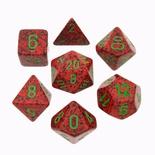 7 Die Set Chessex SPECKLED STRAWBERRY green Dice MACULATO FRAGOLA verde Dadi Dado 25304