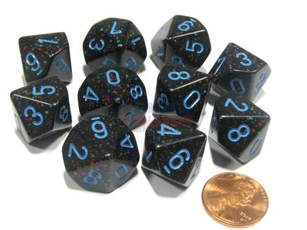 10 d10 Dice Set Chessex SPECKLED STARS Blue 25138 MACULATO STELLE Blu Dadi Dado