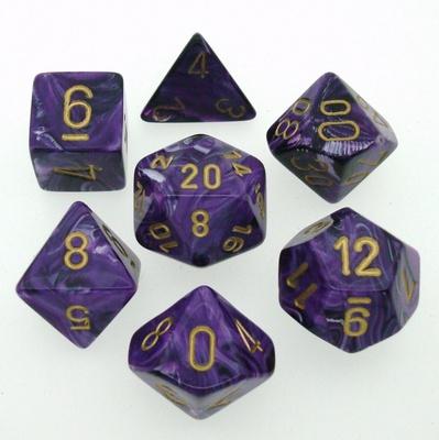 7 Die Set Chessex VORTEX PURPLE gold Dice VIOLA oro Dadi Dado 27437