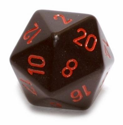 d20 Dice Chessex 16mm Opaque Black red PQ2018 Dado Opaco Nero rosso