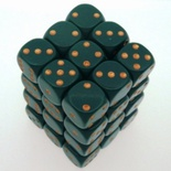 36 d6 Die Set Chessex OPAQUE DIRTY GREEN gold Dice OPACO VERDE SPORCO oro Dadi Dado 25815