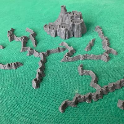 GUERRA DELL'ANELLO : Set Mountain e Mount Doom 3D Montagne e Monte Fato