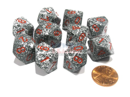10 d10 Dice Set Chessex SPECKLED GRENITE Red 25120 MACULATO GRANITO Rosso Dadi Dado
