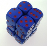 12 d6 Dice Set Chessex OPAQUE PURPLE red 25617 Dadi OPACO VIOLA rosso