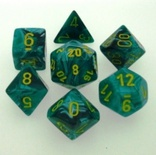 7 Die Set Chessex VORTEX GREEN MALACHITE yellow Dice VERDE MALACHITE giallo Dadi Dado 27455