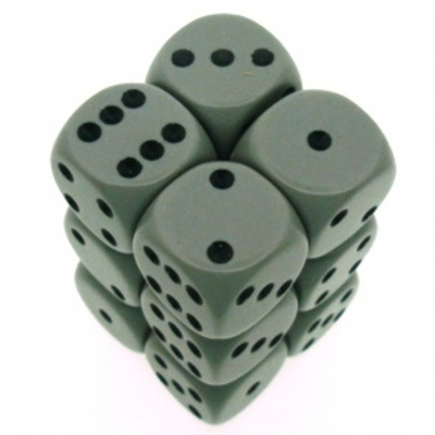 12 d6 Die Set Chessex OPAQUE GRIGIO nero Dice OPACO GREY nero Dadi Dado 25610